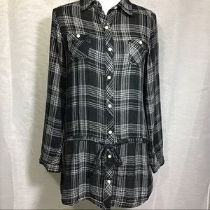 Women Drawstring  Button Up Plaid Shirt Size S